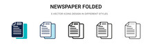 Newspaper Folded Icon In Fille...