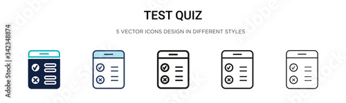Fototapeta Test quiz icon in filled, thin line, outline and stroke style. Vector illustration of two colored and black test quiz vector icons designs can be used for mobile, ui, web obraz