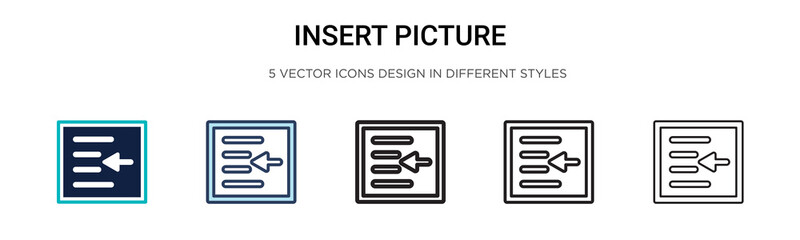 Insert picture icon in filled, thin line, outline and stroke style. Vector illustration of two colored and black insert picture vector icons designs can be used for mobile, ui, web