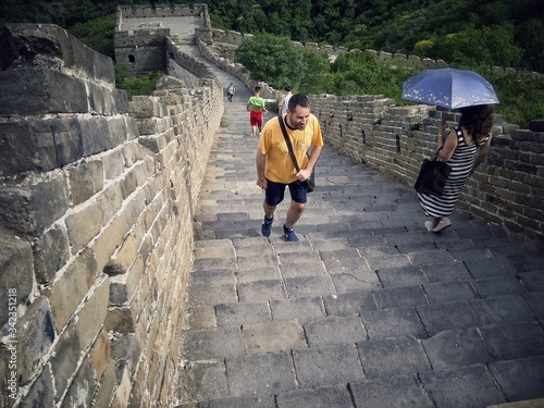 Obraz na plátně High Angle View Of People On Great Wall Of China