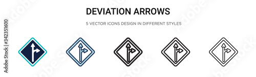 Fotografija Deviation arrows signal of street icon in filled, thin line, outline and stroke style