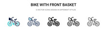 Bike With Front Basket Icon In...
