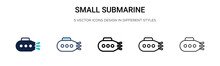 Small Submarine Icon In Filled...