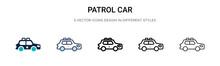 Patrol Car Icon In Filled, Thi...