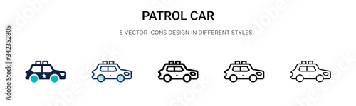 Fototapeta Patrol car icon in filled, thin line, outline and stroke style