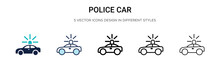 Police Car Icon In Filled, Thi...