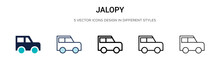 Jalopy Icon In Filled, Thin Li...