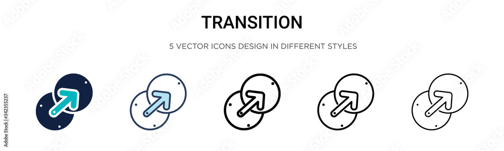 Fototapeta Transition icon in filled, thin line, outline and stroke style. Vector illustration of two colored and black transition vector icons designs can be used for mobile, ui, web
