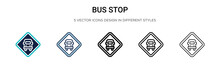 Bus Stop Sign Icon In Filled, ...