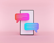 Cute Gradient Chat Bubbles On A Smartphone Isolated On Pastel Pink Background. Concept Of Social Media Messages, SMS, Comments. Minimal Style. 3d Rendering