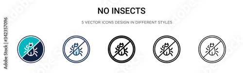 No insects icon in filled, thin line, outline and stroke style Poster Mural XXL