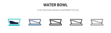 Water Bowl Icon In Filled, Thi...