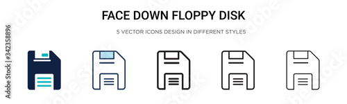 Face down floppy disk icon in filled, thin line, outline and stroke style Fototapet