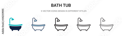 Tela Bath tub icon in filled, thin line, outline and stroke style