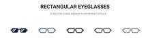 Rectangular Eyeglasses Icon In...