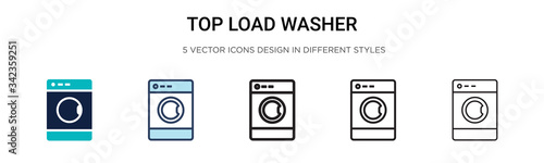 Obraz Top load washer icon in filled, thin line, outline and stroke style. Vector illustration of two colored and black top load washer vector icons designs can be used for mobile, ui, web - fototapety do salonu