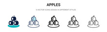 Apples Icon In Filled, Thin Li...