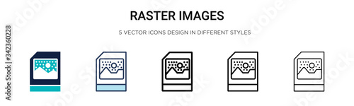 Raster images icon in filled, thin line, outline and stroke style Canvas-taulu