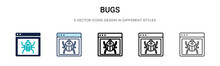 Bugs Icon In Filled, Thin Line...