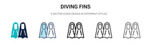 Diving Fins Icon In Filled, Th...
