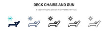 Deck Chairs And Sun Icon In Fi...