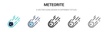 Meteorite Icon In Filled, Thin...