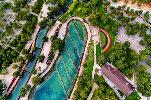 Aerial view of Gaziantep biological pond Canvas Print