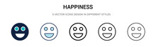 Happiness Icon In Filled, Thin...