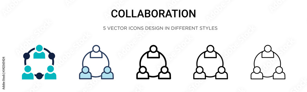 Fototapeta Collaboration icon in filled, thin line, outline and stroke style. Vector illustration of two colored and black collaboration vector icons designs can be used for mobile, ui, web