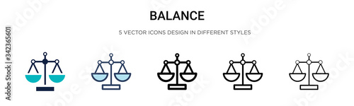 Balance icon in filled, thin line, outline and stroke style Tableau sur Toile