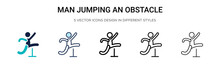 Man Jumping An Obstacle Icon In Filled, Thin Line, Outline And Stroke Style. Vector Illustration Of Two Colored And Black Man Jumping An Obstacle Vector Icons Designs Can Be Used For Mobile, Ui, Web