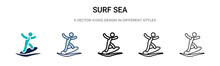 Surf Sea Icon In Filled, Thin ...