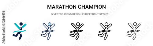 Fényképezés Marathon champion icon in filled, thin line, outline and stroke style