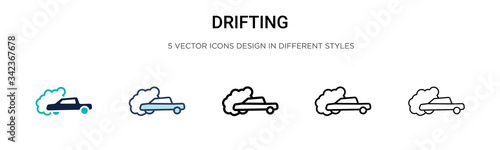 Drifting icon in filled, thin line, outline and stroke style Canvas-taulu