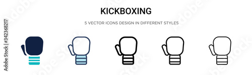 Valokuvatapetti Kickboxing icon in filled, thin line, outline and stroke style