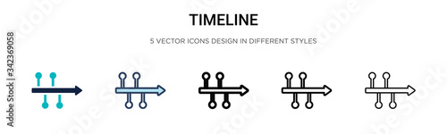 Fototapeta Timeline icon in filled, thin line, outline and stroke style. Vector illustration of two colored and black timeline vector icons designs can be used for mobile, ui, web obraz