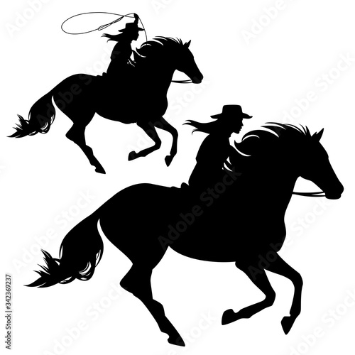 cowgirl riding running horse and throwing lasso black and white vector silhouett Fototapet