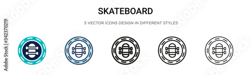 Skateboard icon in filled, thin line, outline and stroke style. Vector illustration of two colored and black skateboard vector icons designs can be used for mobile, ui, web