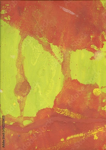 Annotation of red spots and stripes on a yellow background Canvas Print