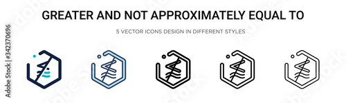 Photo Greater and not approximately equal to symbol icon in filled, thin line, outline and stroke style
