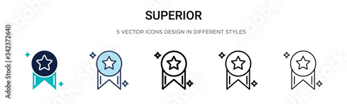 Obraz Superior icon in filled, thin line, outline and stroke style. Vector illustration of two colored and black superior vector icons designs can be used for mobile, ui, web - fototapety do salonu