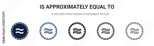 Is approximately equal to icon in filled, thin line, outline and stroke style Canvas Print