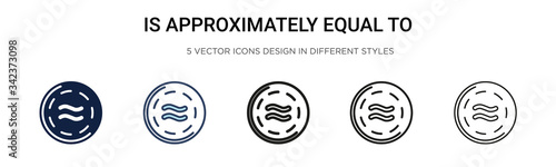 Is approximately equal to symbol icon in filled, thin line, outline and stroke style Canvas Print