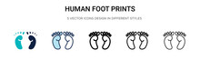 Human Foot Prints Icon In Fill...