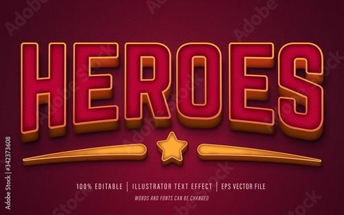 heroes text 3d effect - editable text effect Tablou Canvas