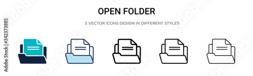 Photo Open folder icon in filled, thin line, outline and stroke style