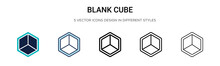 Blank Cube Icon In Filled, Thi...