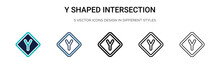 Y Shaped Intersection Icon In Filled, Thin Line, Outline And Stroke Style. Vector Illustration Of Two Colored And Black Y Shaped Intersection Vector Icons Designs Can Be Used For Mobile, Ui, Web