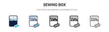 Sewing Box Icon In Filled, Thin Line, Outline And Stroke Style. Vector Illustration Of Two Colored And Black Sewing Box Vector Icons Designs Can Be Used For Mobile, Ui, Web