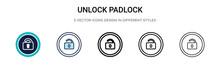 Unlock Padlock Icon In Filled,...